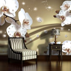 Φωτοταπετσαρια λουλουδια και διαμαντια 2314δ