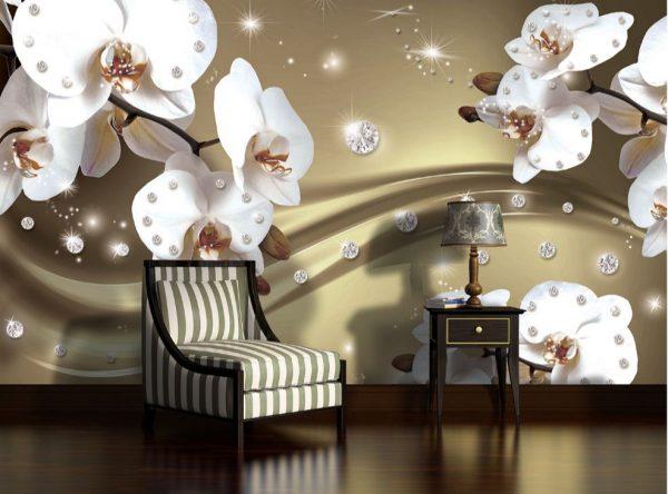 Φωτοταπετσαρια λουλουδια και διαμαντια 2314