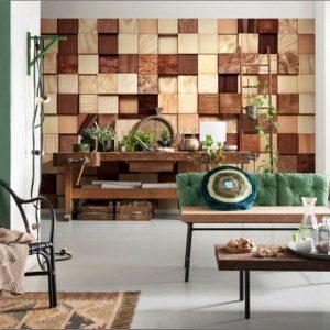 φωτοταπετσαρια τοιχου ξυλινοι κυβοι 8-978