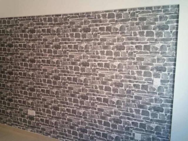 ταπετσαρια τοιχου πετρα σε σαλονι 265620dd