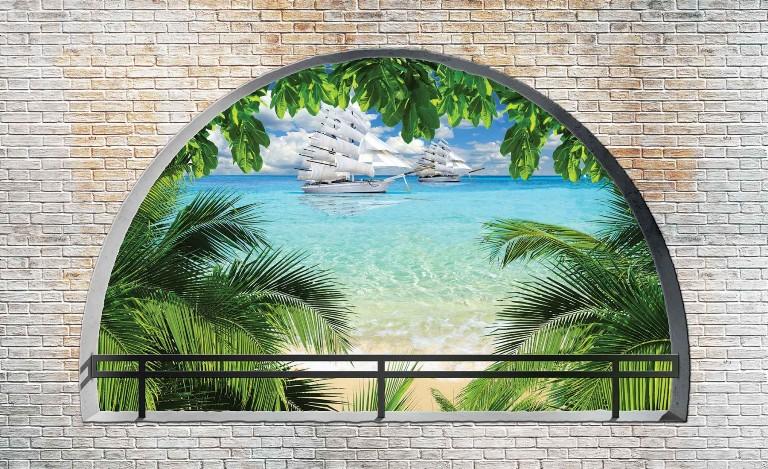 φωτοταπετσαρια τοιχου παραθυρο στη θαλασσα 2842