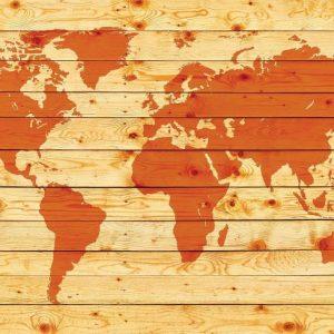 φωτοταπετσαρια παγκοσμιος χαρτης σε ξυλο 1971