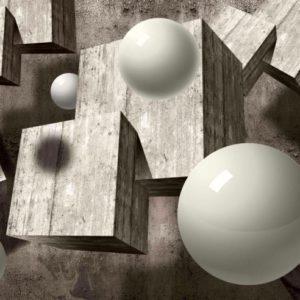 φωτοταπετσαρια 3D σφαιρες και κυβοι 2943