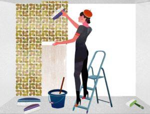 τοποθετήστε τα φύλλα ταπετσαρίας στον τοίχο